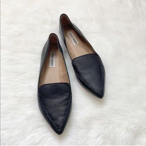Steve Madden Feather Black Leather Loafers